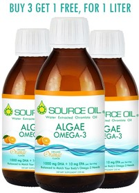 1000mg DHA/Serving Algae Omega-3 + ORGANIC ORANGE FLAVOR (4x250mL), 200 tsp/L